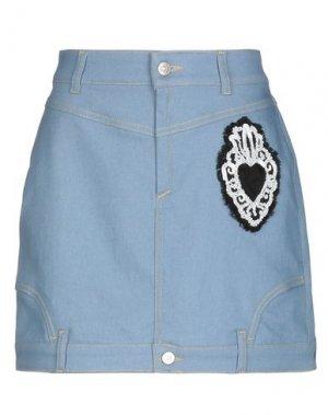 Джинсовая юбка AU JOUR LE. Цвет: синий