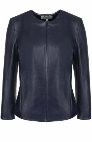 Кожаная куртка на молнии с укороченным рукавом Escada Sport. Цвет: темно-синий