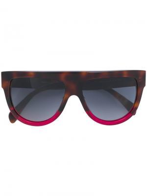 Крупные солнцезащитные очки Celine Eyewear. Цвет: коричневый