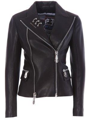 Кожаная куртка-косуха Philipp Plein. Цвет: черный