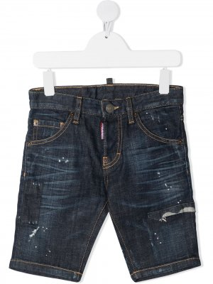 Джинсовые шорты с эффектом разбрызганной краски Dsquared2 Kids. Цвет: синий