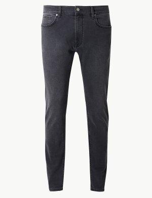 Эластичные джинсы скинни M&S Collection. Цвет: серый
