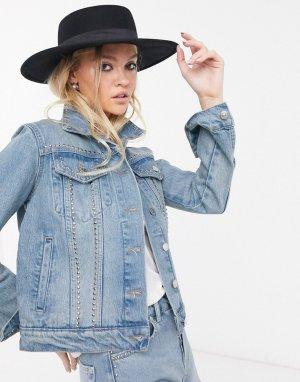 Джинсовая куртка с заклепками -Синий Bolongaro Trevor