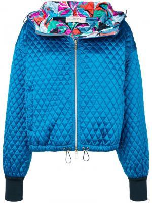 Стеганая куртка-бомбер Emilio Pucci. Цвет: синий