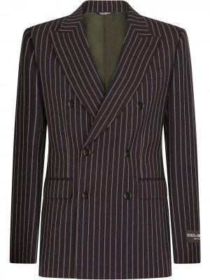 Двубортный пиджак в тонкую полоску Dolce & Gabbana. Цвет: синий