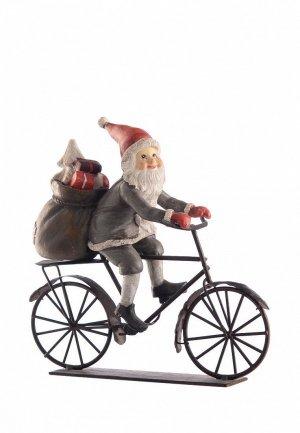 Декор настольный Decogallery Дед мороз на велосипеде