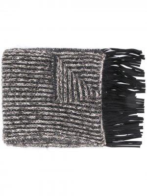 Трикотажный шарф в полоску D.Exterior. Цвет: серый