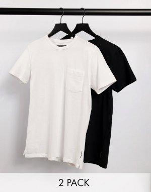Набор из 2 футболок с карманом белого и черного цвета -Многоцветный French Connection