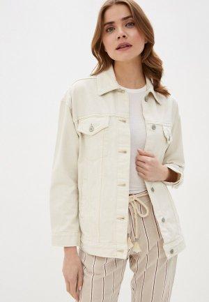 Куртка джинсовая Marks & Spencer. Цвет: бежевый