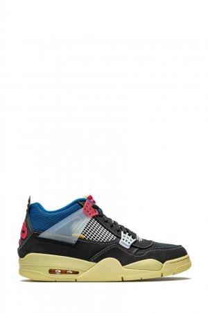 Кроссовки Air Jordan 4 x Union black Nike. Цвет: черный