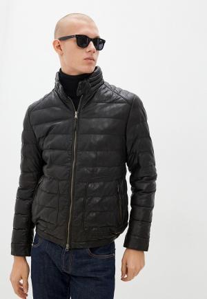 Куртка кожаная Blouson FUNGO. Цвет: коричневый