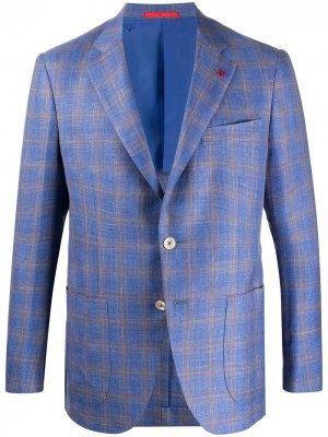 Однобортный пиджак в клетку Isaia. Цвет: синий