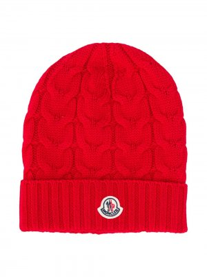 Вязаная шапка бини с логотипом Moncler Enfant. Цвет: красный