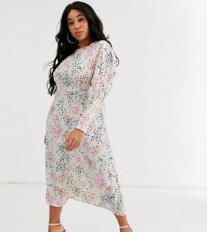 Платье миди в горошек кремового цвета с присборенными рукавами -Мульти Never Fully Dressed Plus