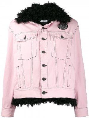 Джинсовая куртка с искусственным мехом Pinko. Цвет: розовый
