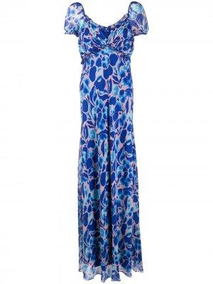 Длинное платье с цветочным принтом DVF Diane von Furstenberg. Цвет: синий