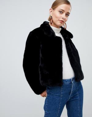 Укороченная куртка из искусственного меха -Черный Jayley