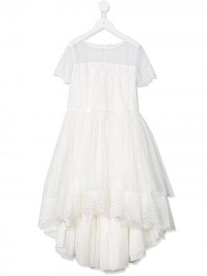 Платье миди с кружевной вставкой Aletta. Цвет: белый
