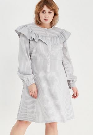 Платье LOST INK PLUS STRIPE DRESS WITH CHECK FRILL. Цвет: серый