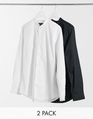 Набор из 2 приталенных классических рубашек с воротником-стойкой -Черный French Connection