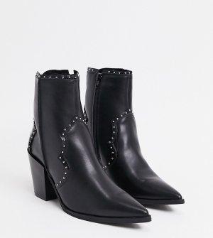 Черные ботильоны на среднем каблуке в стиле вестерн для широкой стопы -Черный Truffle Collection