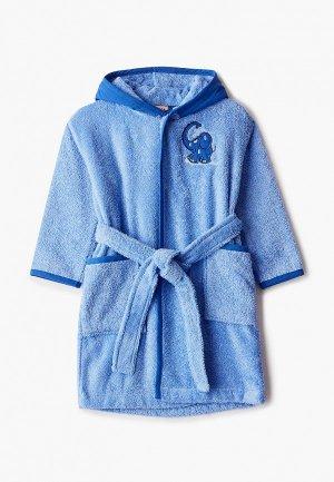Халат домашний Эго Слон Синий. Цвет: голубой