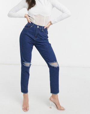 Синие джинсы в винтажном стиле с рваными коленями -Голубой I Saw It First