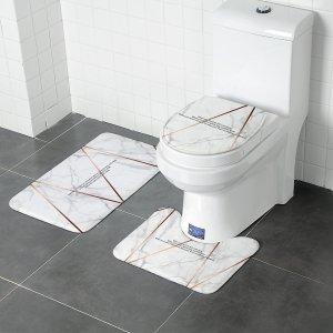 Чехол для унитаза и баннный коврик с мраморным узором 3шт SHEIN. Цвет: белый