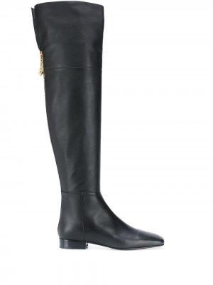 Ботфорты на каблуке Versace. Цвет: черный