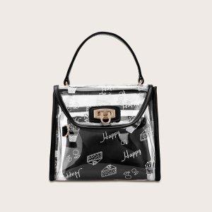 Прозрачная двойная сумка с текстовым принтом для девочек SHEIN. Цвет: чёрный
