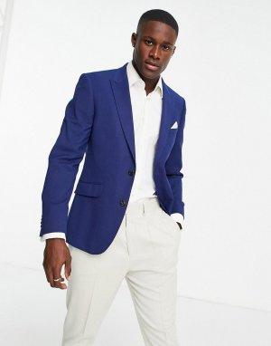 Синий облегающий пиджак из фактурной меланжевой ткани Burton-Голубой Burton Menswear