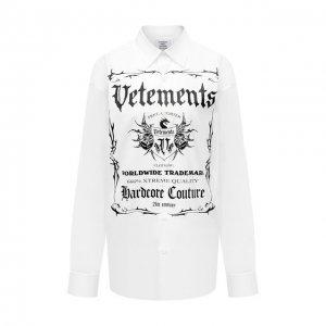 Хлопковая рубашка VETEMENTS. Цвет: белый