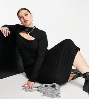 Платье в рубчик с вырезом и длинными рукавами отверстиями для большого пальца ASOS DESIGN Curve-Черный цвет Curve