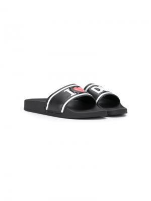 Шлепанцы с тисненым логотипом Dolce & Gabbana Kids. Цвет: черный
