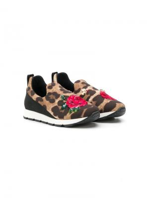 Леопардовые кроссовки слипоны Dolce & Gabbana Kids. Цвет: коричневый