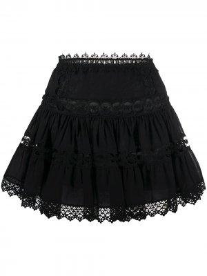 Поплиновая юбка с вышивкой Charo Ruiz Ibiza. Цвет: черный