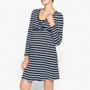 Рубашка ночная для периода беременности и грудного вскармливания LA REDOUTE MATERNITE. Цвет: темно-синий/ белый