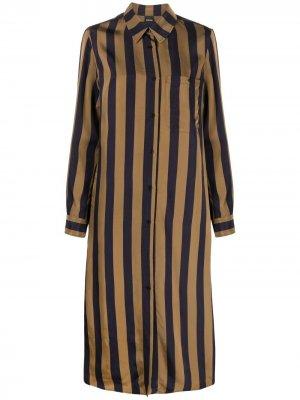 Длинное платье-рубашка в полоску Aspesi. Цвет: нейтральные цвета