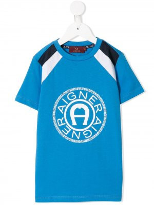 Футболка с короткими рукавами и логотипом Aigner Kids. Цвет: синий