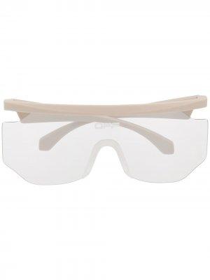 Солнцезащитные очки-маска с логотипом Off-White. Цвет: серый