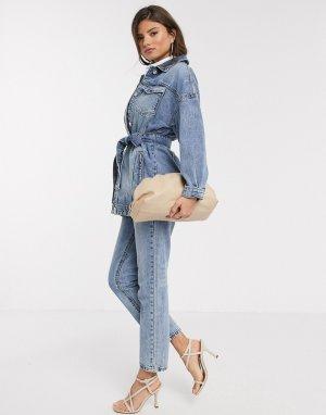 Синяя джинсовая куртка с поясом -Синий Stradivarius