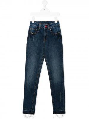 Прямые джинсы с завышенной талией Zadig & Voltaire Kids. Цвет: синий