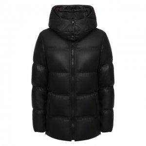 Кожаная пуховая куртка YS ARMY Paris. Цвет: чёрный