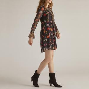 Платье расклешённое с цветочным рисунком, длина 3/4 DERHY. Цвет: черный наб. рисунок