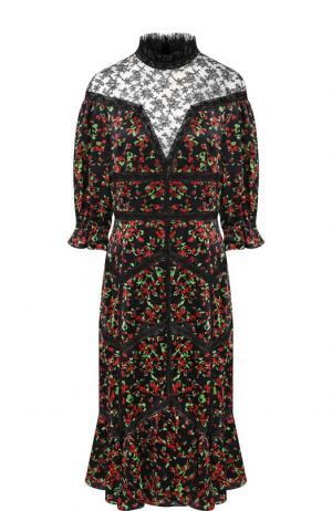 Приталенное платье-миди с воротником-стойкой Valentino. Цвет: черный