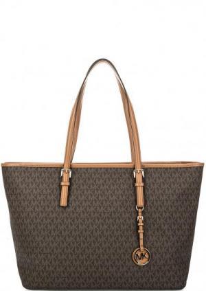 Вместительная сумка на молнии с длинными ручками Jet Set Travel MICHAEL Kors. Цвет: коричневый