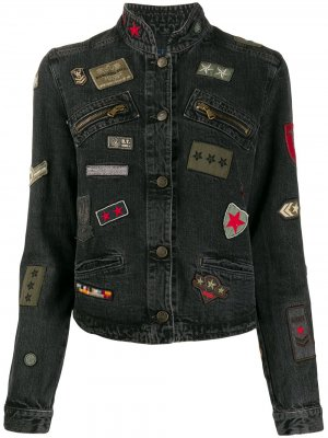 Джинсовая куртка с нашивками Giorgio Armani Pre-Owned. Цвет: серый