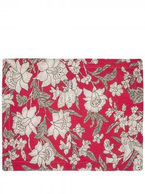 Набор из двух салфеток под приборы с цветочным принтом La Doublej. Цвет: красный