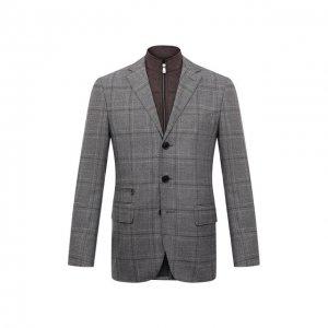 Шерстяной пиджак Corneliani. Цвет: серый