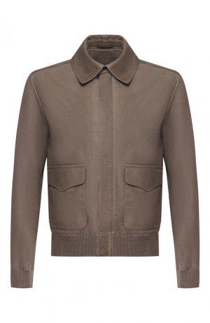 Кожаная куртка на молнии с отложным воротником Ralph Lauren. Цвет: серый